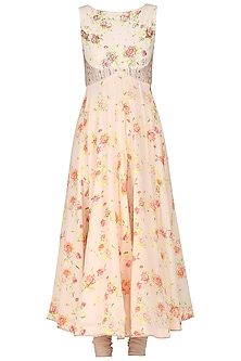 Peach Floral Printed Anarkali Set by KAIA