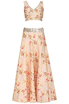 Light Peach Floral Printed Lehenga Set by KAIA
