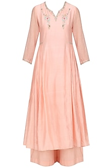 Salmon Pink Embroidred Kurta Set