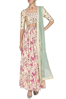 Cream and Sage Green Embroidered Lehenga Set by KAIA