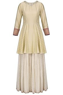 Gold and Off White Embroidered Sharara Set