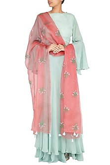 Peach Pink Embroidered Dupatta by Khes