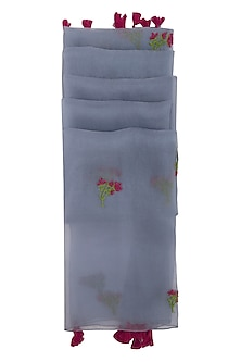 Grey Thistle Embroidered Dupatta by Khes