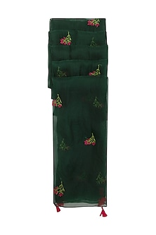 Bottle Green Embroidered Dupatta by Khes