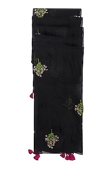 Black Iris Hand Embroidered Dupatta by Khes