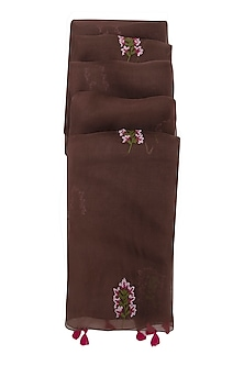 Brown Orchid Embroidered Dupatta by Khes