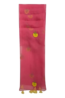 Soft Pink Dahlia Embroidered Dupatta by Khes