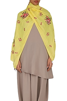 Yellow Tea Roses Embroidered Scarf by Khes