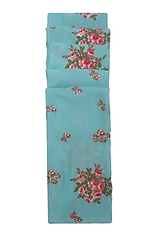 Blue Tea Roses Embroidered Scarf by Khes
