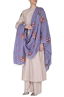 Purple Tea Roses Embroidered Scarf by Khes
