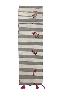Black & White Striped Embroidered Scarf by Khes