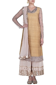 Castilian Gold & Pale Pink Embroidered Kurta Set by Khushbu Rathod