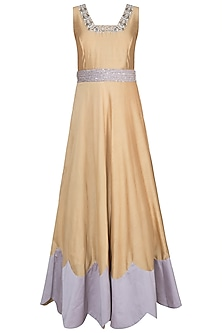 Castilian Gold Embroidered Gown With Dupatta & Belt by Khushbu Rathod