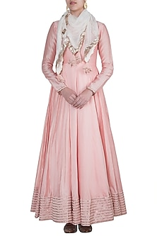 Peach Pink Embroidered Gown With Scarf by Khushbu Rathod