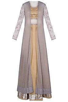 Castilian Gold & Grey Embroidered Jacket Lehenga Set by Khushbu Rathod