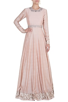 Peach embroidered gown by Khushbu Rathod