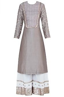 Dusty mink embroidered kurta set