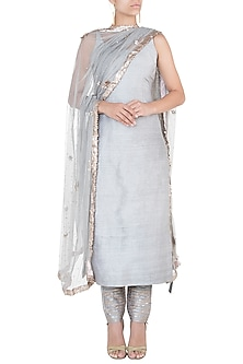 Grey embroidered kurta set by Khushbu Rathod