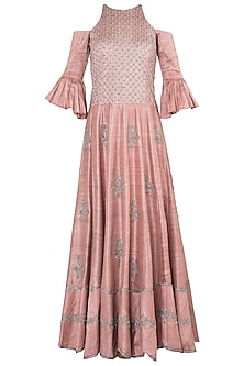 Muted pink embroidered cold shoulder gown