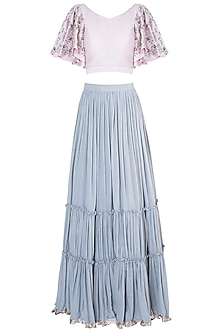 Pastel pink embroidered crop top with lehenga skirt by Khushbu Rathod