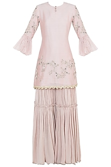 Pastel pink embroidered sharara set