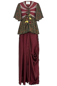 Maroon embroidered top with dhoti pants