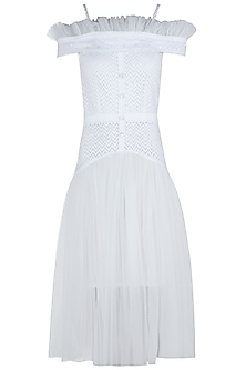 White cold shoulder dress by KHWAAB