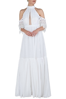 White bardot sleeves maxi dress by KHWAAB