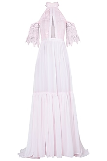 Pink bardot sleeves maxi dress