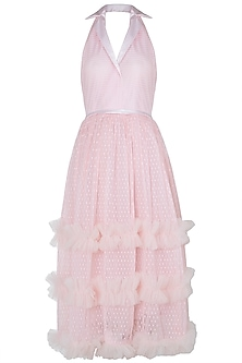 Pink sleeveless tulle dress