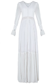 White front slit maxi dress