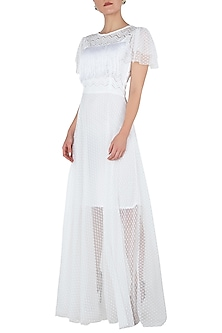 White lace sheer gown by KHWAAB