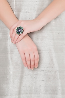 White Finish Blue & Green Stone Ring by Kiwi by Musskan
