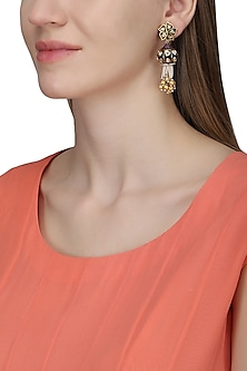 Gold plated black dangling earrings