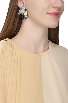 Gold plated black and white rose earrings by Kiwi by Musskan