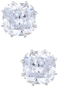 Silver plated diamond stud earrings by Kiwi by Musskan