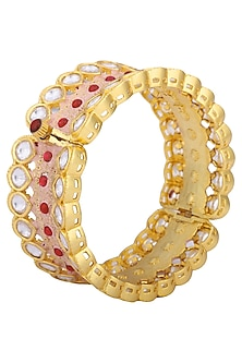 Gold plated kundan coral bangle by Kiwi by Musskan