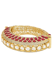 Gold plated temple kundan red bangle by Kiwi by Musskan
