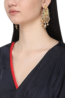 Gold plated multi colored contemporary earrings