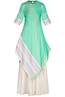 Mint Embellished Kurta With Skirt & Dupatta by Kanika J Singh