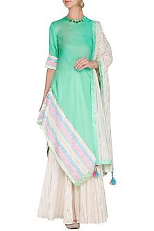 Mint Embellished Kurta With Skirt & Dupatta by Kanika J Singh