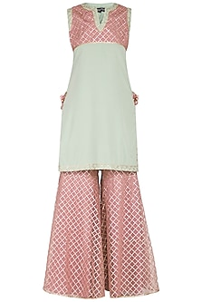 Dull Green Embellished Sharara Set by Kanika J Singh