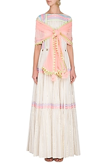 Off White Embellished Tiered Kurta With Dupatta by Kanika J Singh