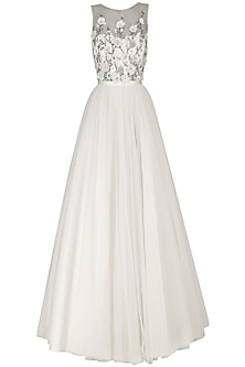 Ivory Tulle Embroidered Ball Gown by Kanika J Singh