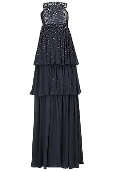 Navy Blue Sprinkle Embroidered Tiered Gown