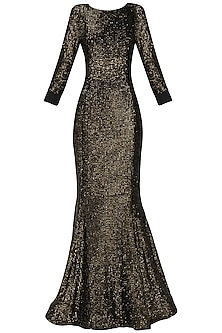 Golden Sequin Embroidered Gown by Kanika J Singh