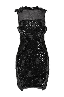 Black Pearls and Sequins Embroidered Dress