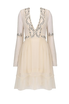 Beige Crystal Embroidered Tulle Dress
