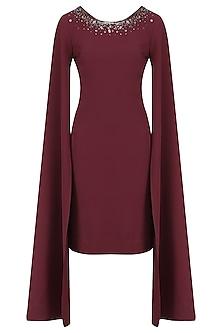 Burgundy Cape Sleeves Dress