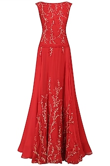 Red Thread Embroidered Flared Gown by Kanika J Singh